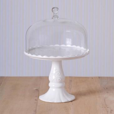 Virginia Casa Linea Volute, Tortenständer mit Glashaube, groß in Weiß