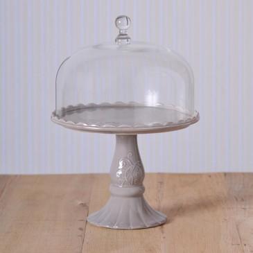 Virginia Casa Linea Volute, Tortenständer mit Glashaube, groß in Grau