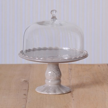 Virginia Casa Linea Volute, Tortenständer mit Glashaube, klein in Grau