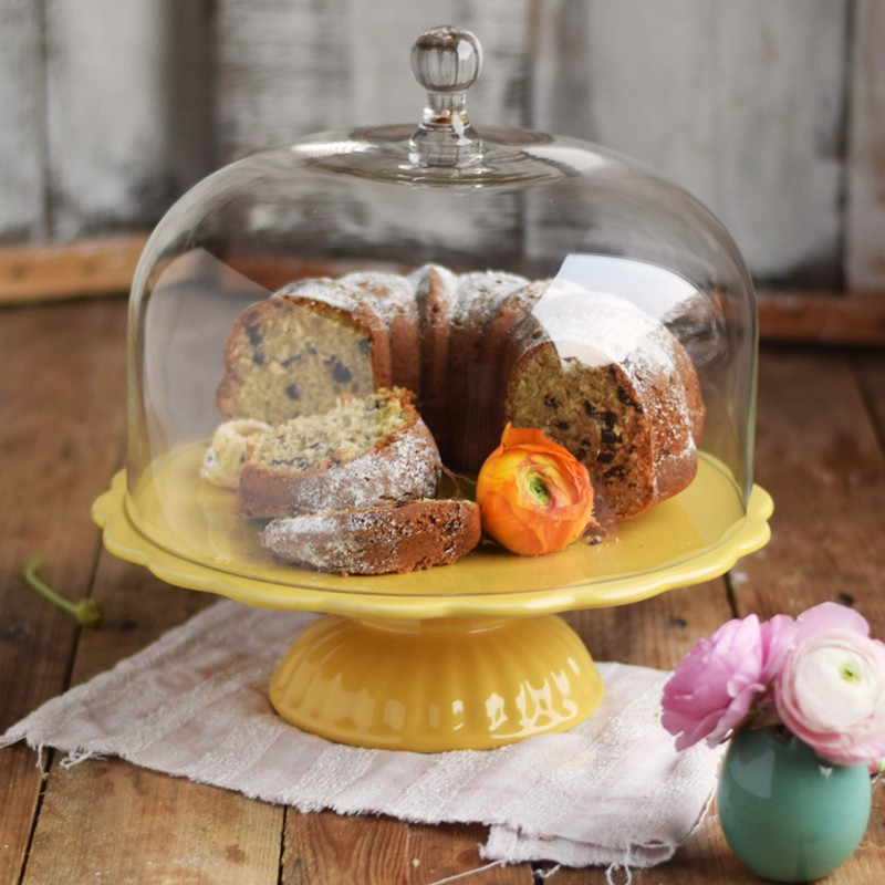 ib laursen tortenplatte mynte in lemon zest mit glashaube cake stands bei home of cake. Black Bedroom Furniture Sets. Home Design Ideas