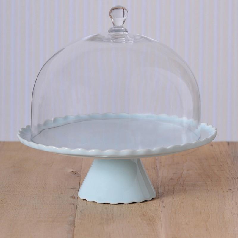 tortenplatte sweet flower in hellblau mit glashaube cake stands bei home of cake. Black Bedroom Furniture Sets. Home Design Ideas