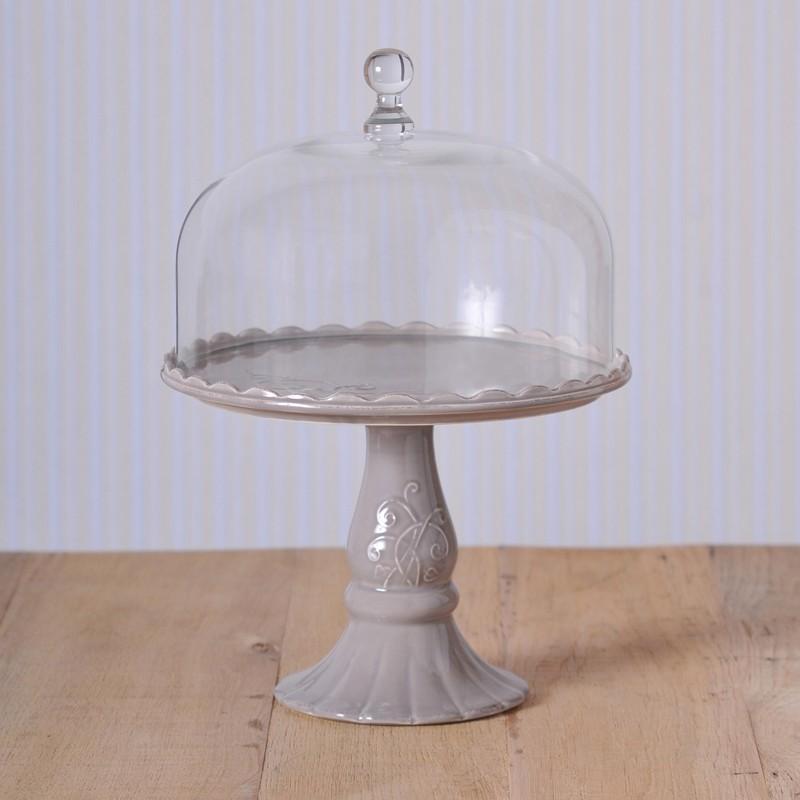 virginia casa linea volute tortenplatte mit glashaube gro grau cake stands bei home of cake. Black Bedroom Furniture Sets. Home Design Ideas