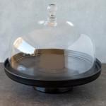 Tortenplatte Linie Puro in Schwarz Matt mit Glashaube