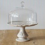 Virginia Casa, Tortenständer Linea Romantica mit Glashaube in Beigegrau