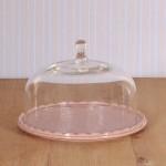 Virginia Casa Linea Volute, Kuchenplatte mit Glashaube, klein in Rosa