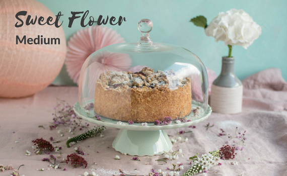 Tortenplatte Sweet Flower Medium mit Glashaube