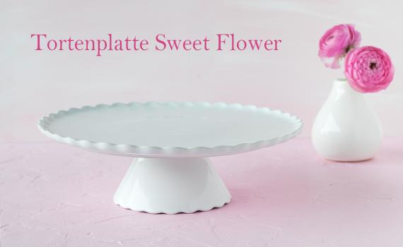 Tortenplatte Sweet Flower Medium in weiß