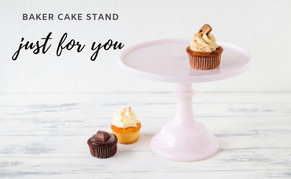 Baker Cake Stand in Pastellrosa von Mosser Glass
