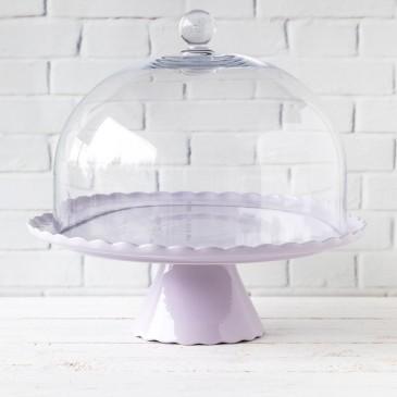 Tortenplatte Sweet Flower in Lavendel hell mit Glashaube
