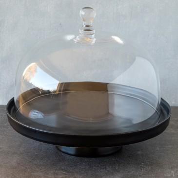 Tortenplatte Puro in Schwarz Matt mit Glashaube