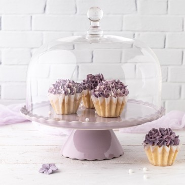 Tortenplatte Sweet Flower Medium in Lavendel mit Glashaube