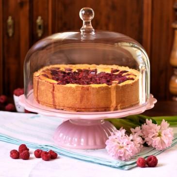 Ib Laursen Tortenplatte Mynte in Rosa mit Glashaube