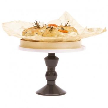 Jansen+co, Cake Stand medium mit Fuß in Anthrazit und Dekoration