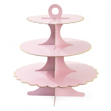 Miss Étoile, Etagere in Rosa mit goldfarbenem Rand