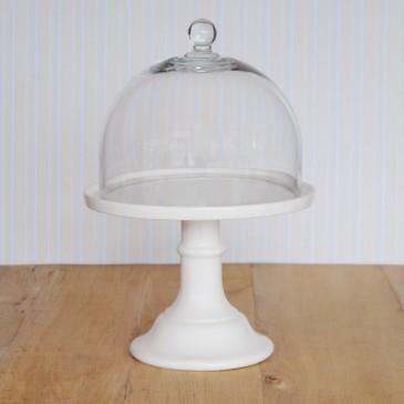 Miss Étoile, Cake Stand in Weiß mit Glashaube
