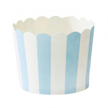 Miss Étoile, Muffinförmchen Streifen Hellblau/Weiß