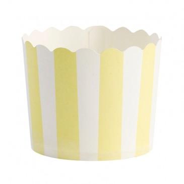 Miss Étoile, Muffinförmchen Streifen Gelb/Weiß