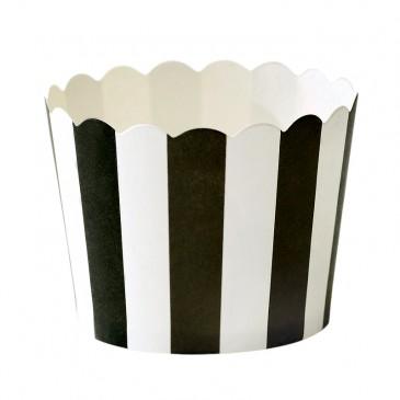 Miss Étoile, Muffinförmchen Streifen Schwarz/Weiß