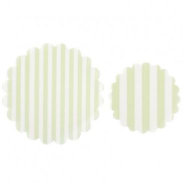 Miss Étoile, Tortendecke Streifen im Set Hellgrün/Weiß