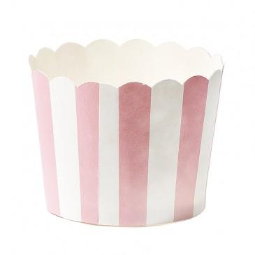 Miss Étoile, Muffinförmchen Streifen Rosa/Weiß
