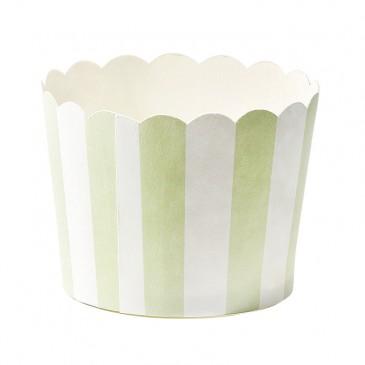 Miss Étoile, Muffinförmchen Streifen Hellgrün/Weiß
