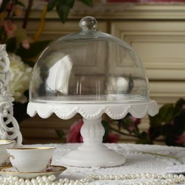 Miss Étoile Tortenplatte in Weiß mit Glashaube