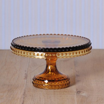 Hobnail Cake Stand in Amber Medium