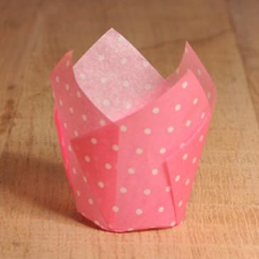 Tulpen Muffinförmchen Punkte Weiß/Pink