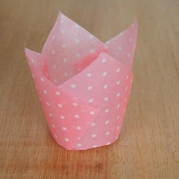 Tulpen Muffinförmchen Punkte Weiß/Hellrosa