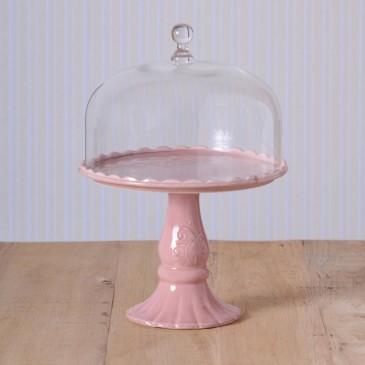 Virginia Casa Linea Volute, Tortenständer mit Glashaube, groß in Rosa