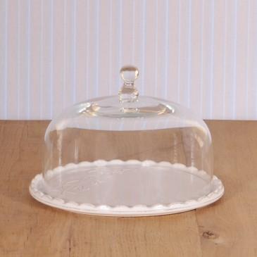 Virginia Casa Linea Volute, Kuchenplatte mit Glashaube, klein in Weiß