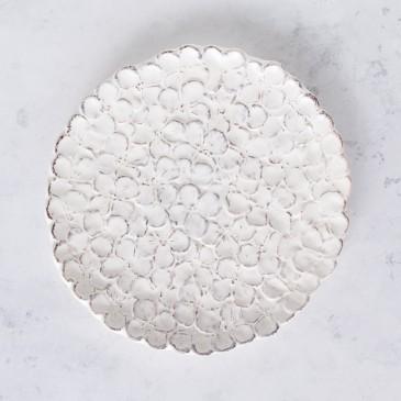 Kuchenteller Ortensia in Weiß