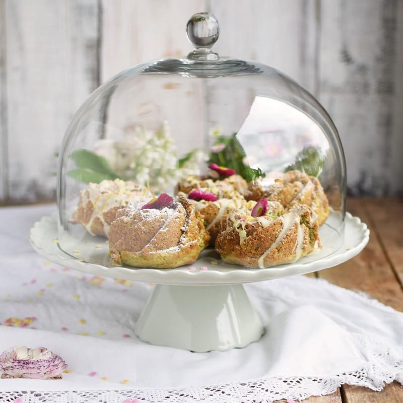 tortenplatte sweet flower in mintgr n hell mit glashaube cake stands bei home of cake. Black Bedroom Furniture Sets. Home Design Ideas