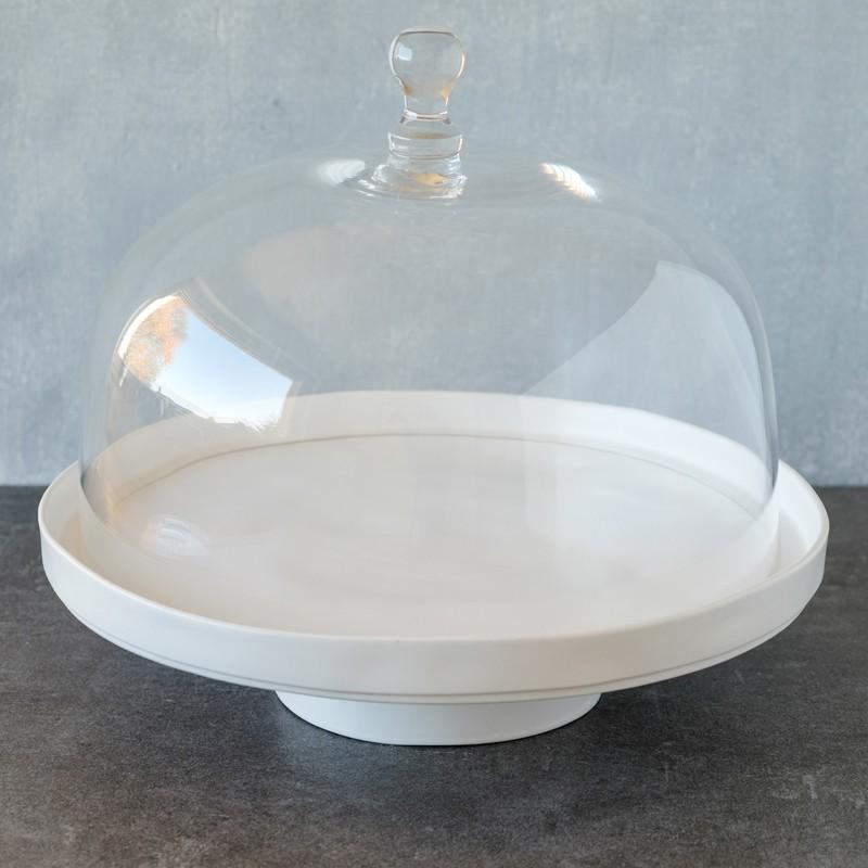 tortenplatte linie puro in wei matt mit glashaube cake stands bei home of cake. Black Bedroom Furniture Sets. Home Design Ideas