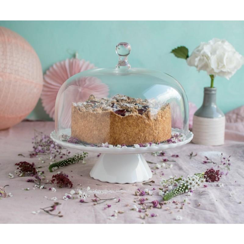 tortenplatte sweet flower medium in wei mit glashaube cake stands bei home of cake. Black Bedroom Furniture Sets. Home Design Ideas
