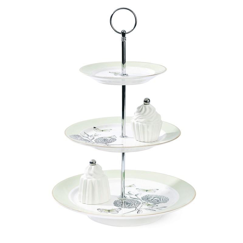 miss toile etagere big flower 3 st ckig mintgr n cake stands bei home of cake. Black Bedroom Furniture Sets. Home Design Ideas