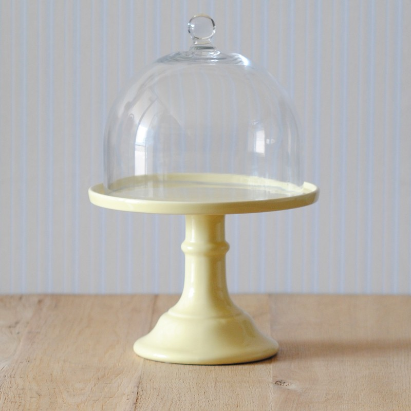 miss toile cake stand in pastellgelb mit glashaube cake stands bei home of cake. Black Bedroom Furniture Sets. Home Design Ideas