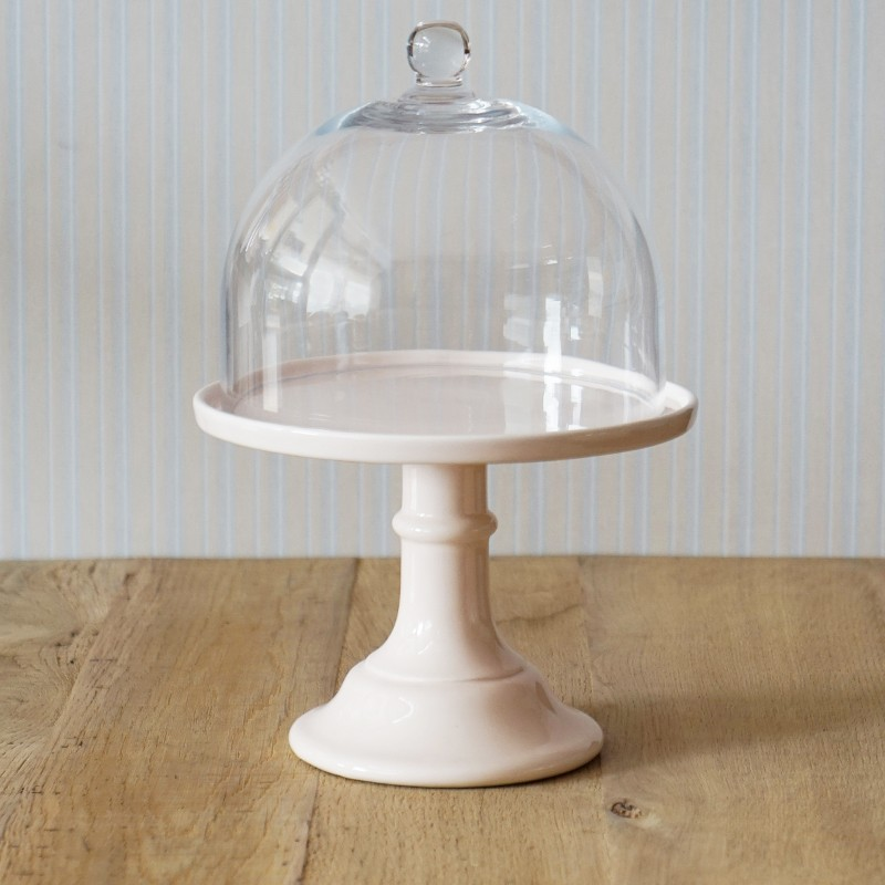 miss toile cake stand in pfirsich mit glashaube cake stands bei home of cake. Black Bedroom Furniture Sets. Home Design Ideas