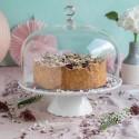 Tortenplatte Sweet Flower Medium Weiß mit Glashaube