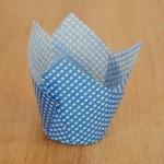 Tulpen Muffinförmchen Karos Weiß/Blau