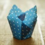 Tulpen Muffinförmchen Punkte Weiß-Blau