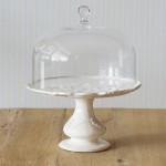Virginia Casa, Tortenständer Linea Romantica mit Glashaube in Weiß