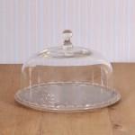 Virginia Casa Linea Volute, Kuchenplatte mit Glashaube, klein in Grau