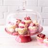 Tortenplatte Sweet Flower Medium in Raspberry Red mit Glashaube